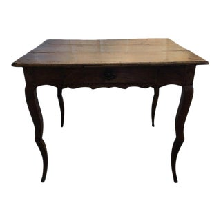 French Side Table with a Front Drawer and Cabriole Legs, 19th Century For Sale