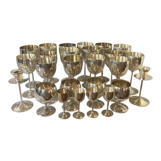 Vintage Spanish Silver Plated Stemware Candlesticks - 26 Pieces For Sale