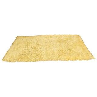 1970s Mid-Century Modern White Flokati Shag Hand Woven Wool Area Rug - 5′5″ × 8′10″ For Sale