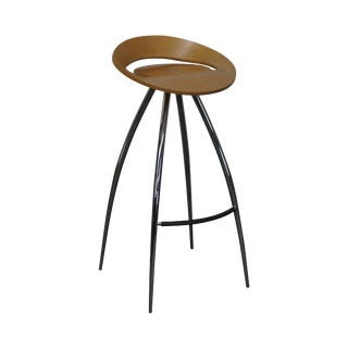 Magis Lyra Tecnotubi Chrome Base Bent Wood Stool For Sale