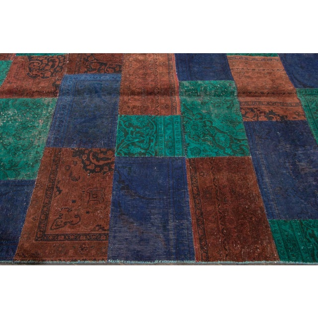 "Vintage Patchwork Overdyed Rug - 6'6"" X 8'10"" For Sale - Image 4 of 6"