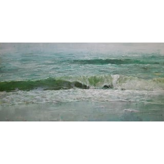 "Beckham Oil Painting ""Blue Green"", Contemporary Seascape For Sale"