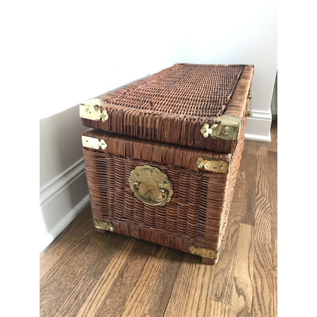 Brass Vintage Brass and Wicker Trunk For Sale - Image 7 of 10