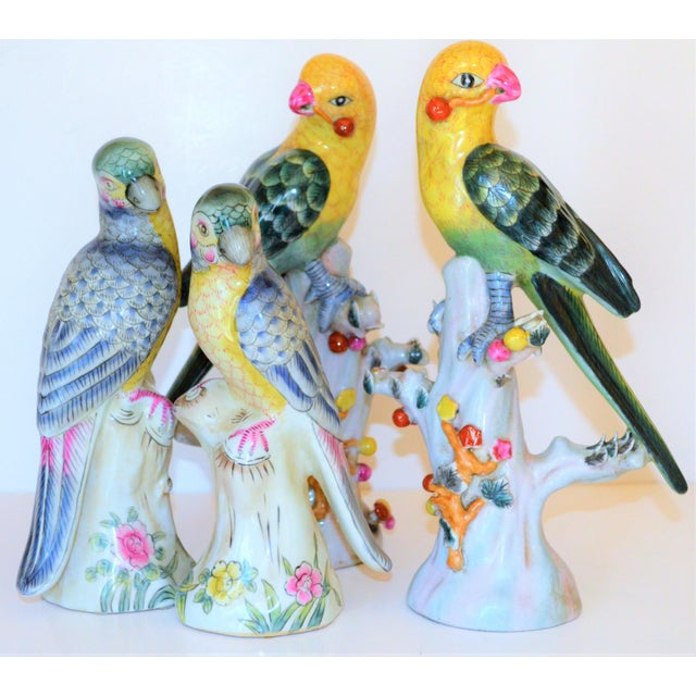 Asian (Final Mark Down Taken) Chinese Export Porcelain Parrot Figurines - Set of 4 For Sale - Image 3 of 12