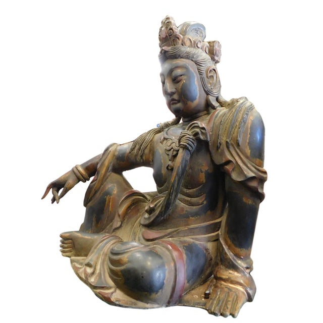 Distressed Golden Black Wood Kwan Yin Statue - Image 6 of 10