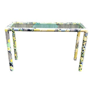1970s Weiman/ Warren Lloyd Upholstered Glass Console Table For Sale