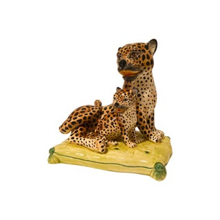 1960s Italian Ceramic Leopard For Sale