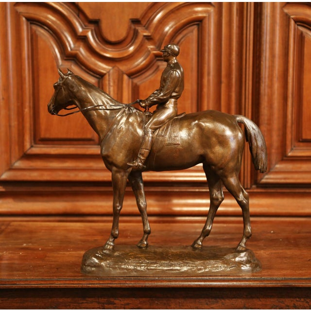 19th Century French Bronze Racehorse and Jockey Sculpture Signed Paul Comolera For Sale In Dallas - Image 6 of 13