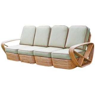 Restored Square Pretzel Rattan Four-Seat Sofa by Paul Frankl For Sale