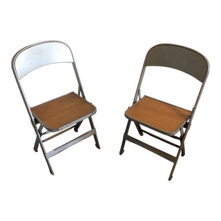 1950s Industrial Metal Children's Folding Chairs - a Pair