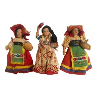 1940's Vintage Handcrafted Italian Peasant Souvenir Dolls- Set of 3 For Sale