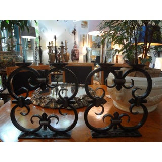 1940s French Art Deco Wrought Iron Candle Holders by Michel Zadounaisky - a Pair Preview