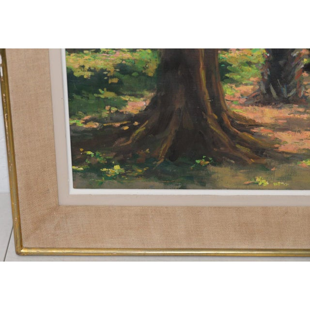 Impressionism Mid Modern Palm Forest Impressionist Oil Painting C.1950s For Sale - Image 3 of 8