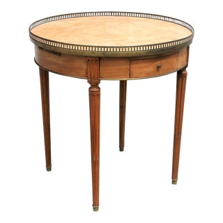 1900s French Louis XVI Mahogany Marble Top Bouillotte Table For Sale