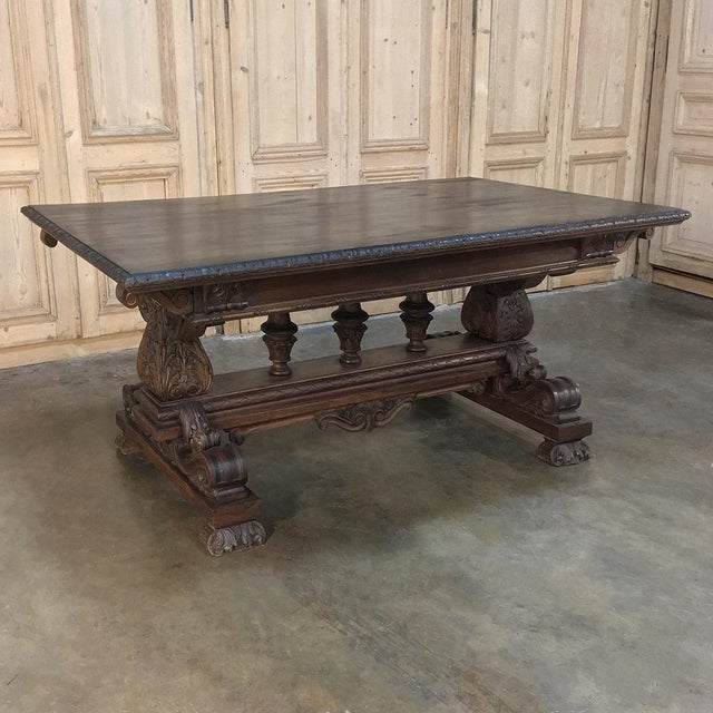 Antique Italian Renaissance Walnut Desk - Dining Table For Sale - Image 11 of 11