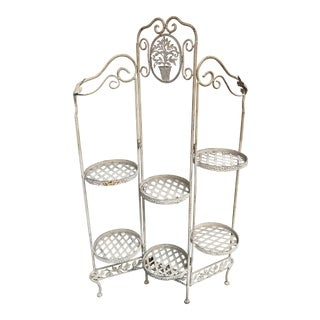 Vintage French Painted Metal Plant Stand Six-Tier Folding Tri-Panel For Sale