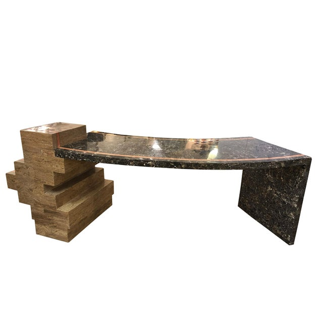 1970s Marzio Cecchi Italian Pink White Veined Black and Beige Marble Desk For Sale - Image 10 of 10