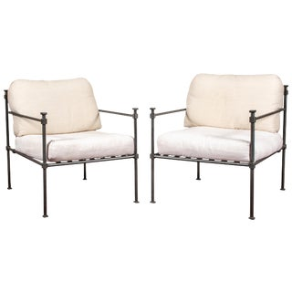 Pair of Welded Construction Modern Armchairs For Sale