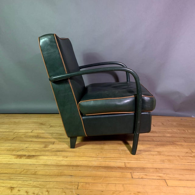 1990s Pair Baxter Italia Green Leather Armchairs, 1990 For Sale - Image 5 of 11