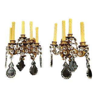 Late 19th Century French Bronze or Crystals Sconces - a Pair For Sale