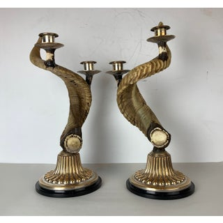 Vintage Western Style Horn Candlesticks Pair Silvered Copper All Natural - a Pair Preview