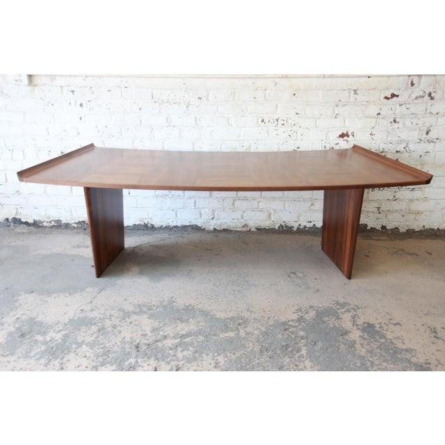Excellent Curved Top Walnut Harvey Probber Executive Desk For Sale - Image 10 of 14