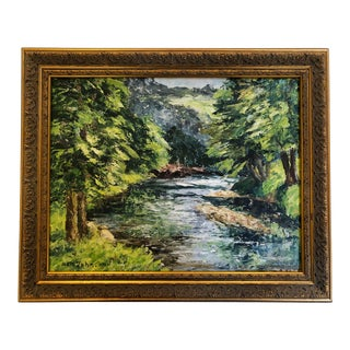 English Impressionistic Oil Painting on Board Depicting a Stream For Sale