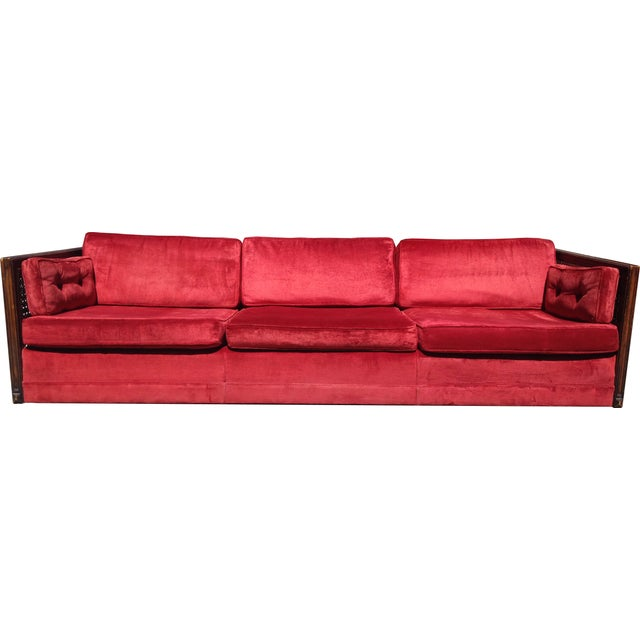 Ruby Red Velvet Cane-Side Sofa - Image 1 of 5