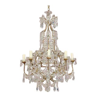Italian Eight-Light Crystal Beaded Chandelier For Sale