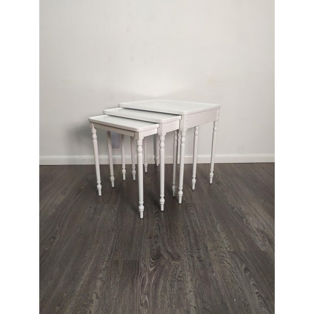 Contmemporary Wood Nesting Tables in Fresh White Lacquer Finish - Set of 3 For Sale In West Palm - Image 6 of 6