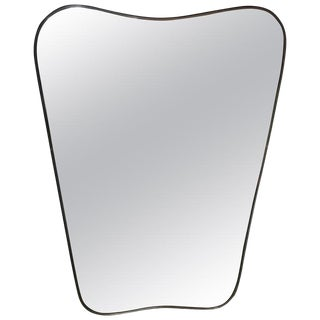 1950s Italian Minimal Curvilinear Brass Mirror For Sale