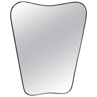 1950s Italian Minimal Curvilinear Brass Mirror For Sale