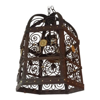 Late 19th Century Baroque Hexagonal Wrought Iron Lantern For Sale