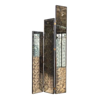Mid Century Double-Sided Mirror Folding Screen For Sale