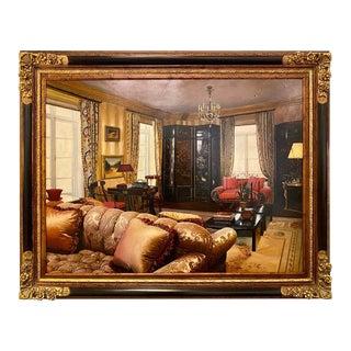 Oil on Canvas Interior Home Design in a Custom Frame, Signed Feldman For Sale