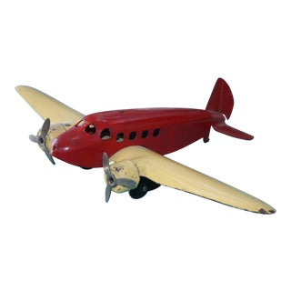 Red and Cream Pressed Tin 1920s Plane For Sale