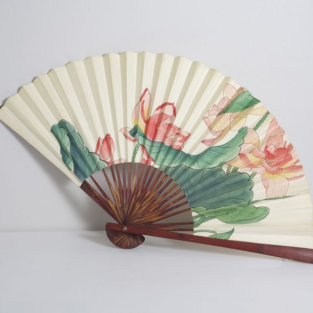Large Floral Asian Fan - Image 2 of 4