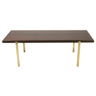 Harvey Probber Reductive Rosewood & Brass Cocktail Table For Sale