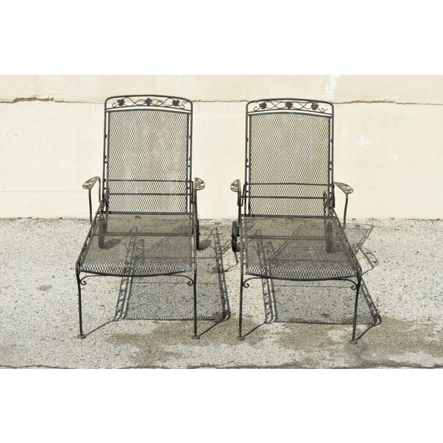 Vintage Mid Century Russell Woodard Patio Garden Reclining Wrought Iron Chairs- a Pair For Sale - Image 12 of 13