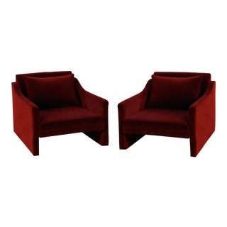 Stately Ruby Velvet Club Chairs - a Pair For Sale