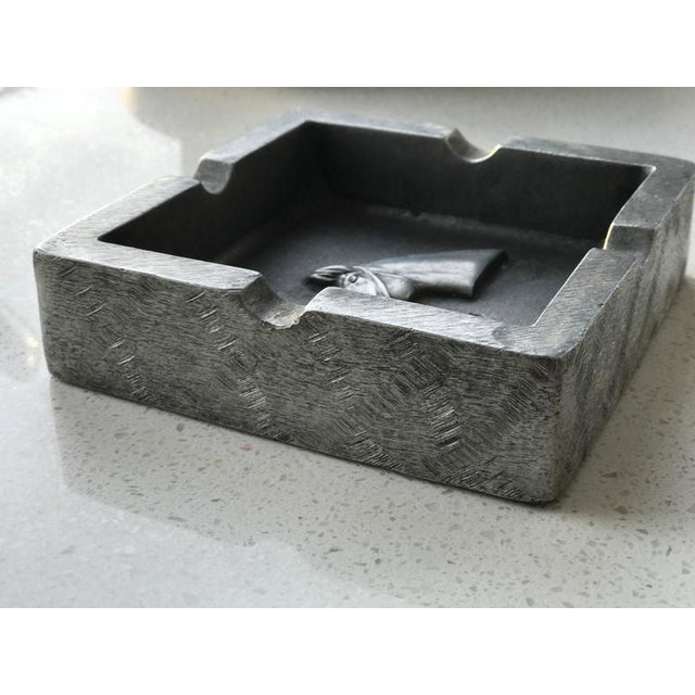 Gray Mid-Century Modern Equestrian Theme Ashtray in Pewter For Sale - Image 8 of 10