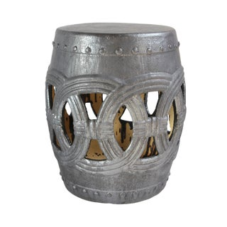 Charcoal Ceramic Rope Garden Stool For Sale