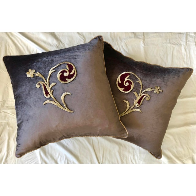 Early 19th Century Dark Grey Velvet Pillows - a Pair For Sale - Image 13 of 13