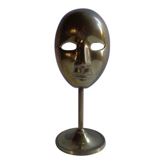 Vintage Brass English Theater Thespian Mask on Stand For Sale