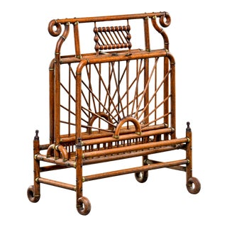 Victorian Bentwood and Brass Magazine Rack For Sale