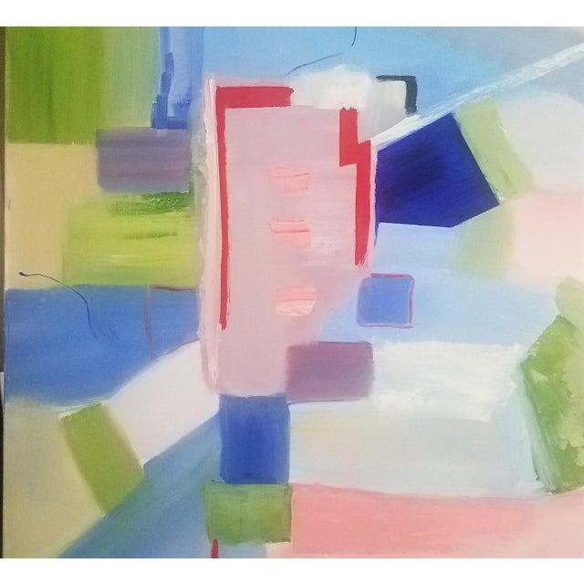 """Abstract Abstract Contemporary """"Sloane Square"""" Oil Painting by Christine Frisbee For Sale - Image 3 of 10"""