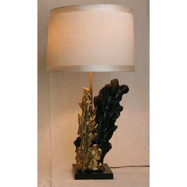 Lamp in the form of seaweed fans, one black resin, the other gilt resin. Fantastic form and very sculptural. Resin base...
