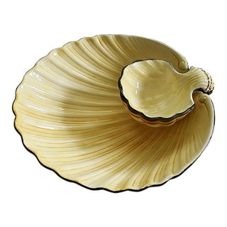 Mid Century Fitz and Floyd Ceramic Clam Shell Platter in Yellow and Black For Sale