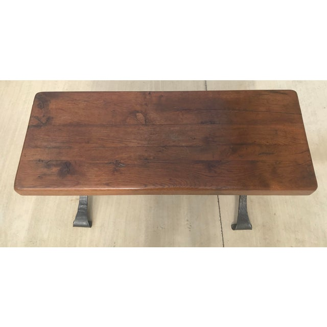 Rustic Late 20th Century Rustic French Iron Base Coffee Table For Sale - Image 3 of 12