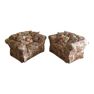 21st Century Rose Tapestry Chairs - A Pair For Sale